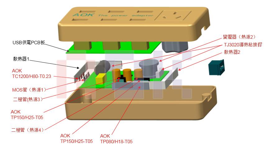 傲川-多功能新型电源适配器应用分解示意图